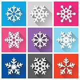 Snowflakes flat design with long shadows - Winter, Christmas background