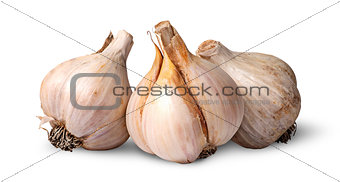 Three bulbs of garlic beside