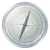 glossy silver compass illustration