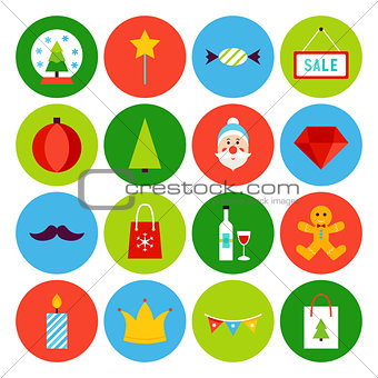 Flat Merry Christmas Icons