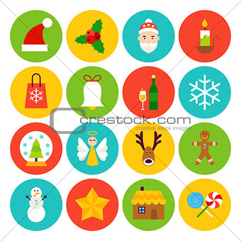 Flat Winter Christmas Icons