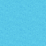 Line Christmas Blue Seamless Pattern