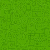 Line Christmas Green Seamless Pattern