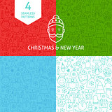 Line Christmas New Year Patterns