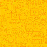 Line Christmas Yellow Seamless Pattern