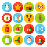 Winter Christmas Flat Icons