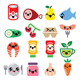 Kawaii cute food characters - meat, vegetables, fruit icons set