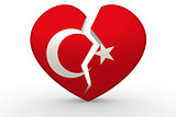 Broken white heart shape with Turkey flag