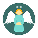 Christmas angel icon flat