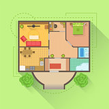 House Floor Interior Design Project View From Above
