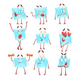 Letter Envelop Cartoon Character Emotion Illustrations Set