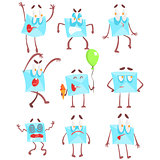 Mail Envelop Cartoon Character Emotion Illustrations Set