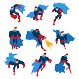 Comics Superhero With Blue Cape In Action Classic Poses Stickers