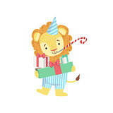 Lion Cute Animal Character Attending Birthday Party