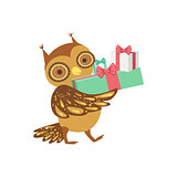 Owl Cute Animal Character Attending Birthday Party