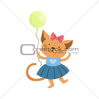 Cat Cute Animal Character Attending Birthday Party