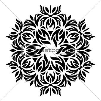 Black geometric abstract round mandala