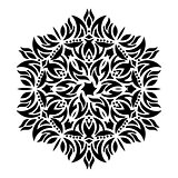 Black geometric abstract round mandala