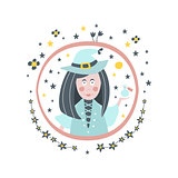 Witch Fairy Tale Character Girly Sticker In Round Frame