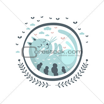 Blue Cat Fairy Tale Character Girly Sticker In Round Frame