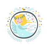 Magic Fairy  Tale Character Girly Sticker In Round Frame