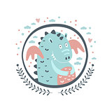 Chubby Dragon Fairy Tale Character Girly Sticker In Round Frame