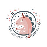 Unicorn Fairy Tale Character Girly Sticker In Round Frame
