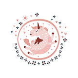 Pegasus Fairy Tale Character Girly Sticker In Round Frame