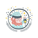 Gnome Fairy Tale Character Girly Sticker In Round Frame