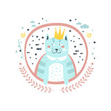 King Cat Fairy Tale Character Girly Sticker In Round Frame