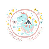Good Dragon Fairy Tale Character Girly Sticker In Round Frame