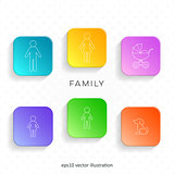 Outline family icons on web buttons