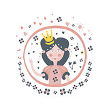 Princess Fairy Tale Character Girly Sticker In Round Frame