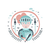 Knight Fairy Tale Character Girly Sticker In Round Frame