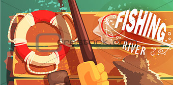 Fishing On The River With Cat View From Above Illustration