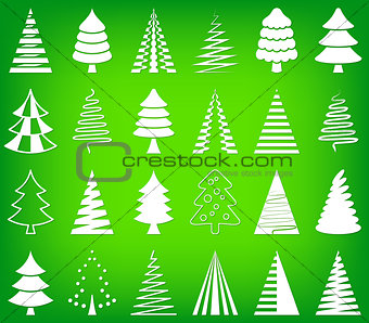 Abstract christmas tree icons collection