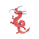Red Dragon Japanese Culture Symbol