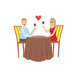 Couple In Love On The Date With Restaurant