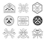 Wood Workshop Black And White Emblems