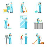 Workers Providing Cleaning Service In Blue Uniform Set Of Illustrations