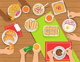People Eating Different Breakfast Meals Together View From Above
