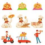 Pizza Delievery Fast Service Process Info Illustration