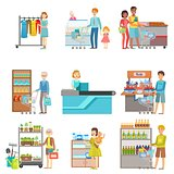 People Shopping In Supermarket Set Of Illustrations