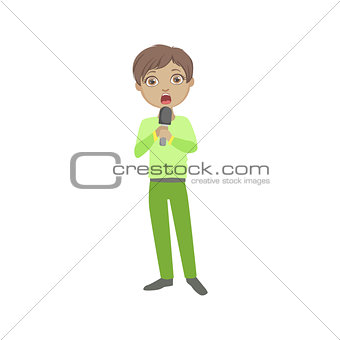 Boy In Green Outfit Singing In Karaoke