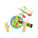 Child Cooking Salad Illustration With Only Hands Visible From Above