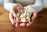 woman hands holding garlic