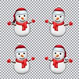 snowman in Santa hat