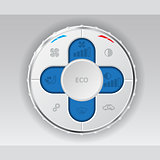 White air condition gauge with blue lcd