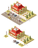 Vector isometric low poly fast food restaurant