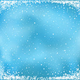 snow on blue background